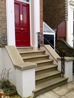 Hand rail on steps. Steps and Coping Stone - English City Stone & York stone steps bullnosed installed by English City Stone ...