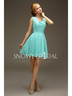 Short Aqua Summer Chiffon Mini Simple With Straps Bridesmaid Dress - US$ 74.99 - Style B2511 - Snowy Bridal