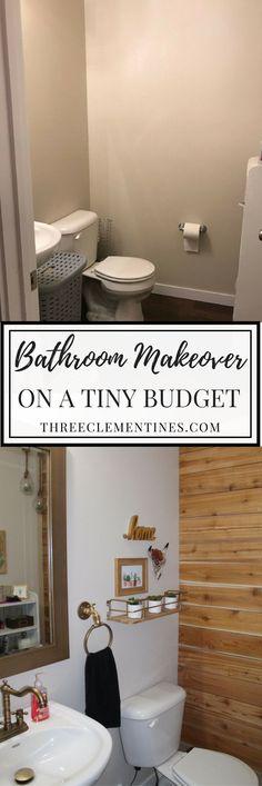 Bathroom Makeover on a tiny budget with a DIY wood plank wall. #bathroomdesign #bathroommakeover #budget #homedecor #industrial #bathroom