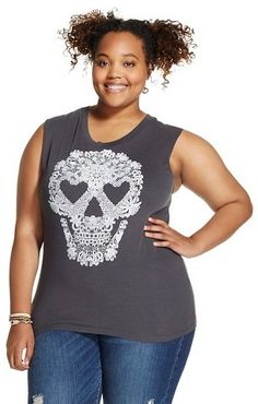 Fifth Sun Lace Print Plus Size Skull Graphic Muscle Black