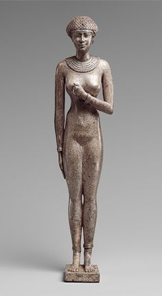 Statuette of a Woman, Late Period, Dynasty 26, reign of Necho II, ca. 610–595 B.C., Egyptian, Silver, H. 9 1/2 in. (24 cm)