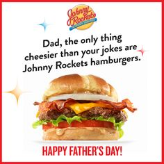 Show your dad how much you love him with a custom Johnny Rockets ecard for Father's Day! Fathers Day Ecards, Happy Fathers Day, Fathers Day Gifts, Good Buddy, Rockets, Hamburger, How To Memorize Things, Dads, Ethnic Recipes