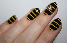 Buzz Off nail art by Polish You Pretty. Click the photo to see the full tutorial!