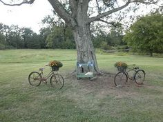 This ceremony used Vintage bicycles and an old beverage cart make a rustic place to say I do.