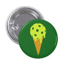 Pickleball Summer Ice Cream Cone  Pin / Button (green) -- 15% OFF All Pickleball Apparel & Accessories!