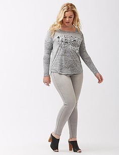 """Today's all about you with a """"Nope Not Today"""" long sleeve graphic tee. Lightweight burnout knit layers like a dream, in a cut made for casual days with easy drop shoulders and a high-low hem. Scoop neck. lanebryant.com"""