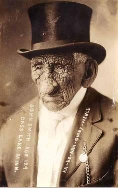 John Smith, aka Gaa-binagwiiyaas; a Chippewa Indian who lived in Minnesota, at the age of 129.