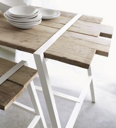 rustic-modern table and bench