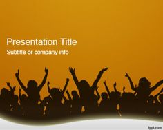 Orange Crowd PowerPoint Template is a free presentation template PowerPoint background with orange color and crowd illustration that you can download to make presentations on people crowd or music festivals