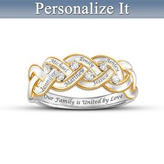 Strength Of Family Personalized Diamond Ring - Bradford Exchange - up to 6 engraved names $119.00 or 4 payments of $29.75