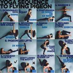"""YOGA SEQUENCE TO FLYING PIGEON: 3 years ago I didn't even know arm balancing existed, I also couldn't even really pigeon but through patience & dedication a flying pigeon is now possible, if I could do it, so can you Warm up: SUN A & B x5 each 1. DOWNWARD DOG  This is my go to for any sort of strengthening sequence as while it does make the shoulders burn it also makes you realise the importance of having a solid foundation & how it will relate to all """"harder"""" poses 2. SQUAT If your heels…"""