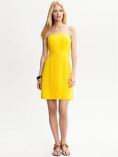 Strapless Yellow Dresses - KD Dress