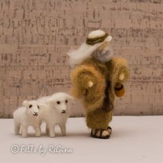Needle felted Waldorf inspired Nativity set Shepherd by THEFELTED