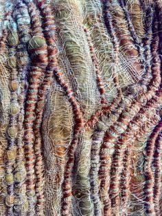 Image result for embroidered fibre art using rust dyed fabric