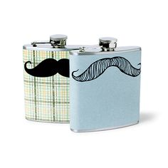 Brides.com: . A handlebar 'stache turns flasks into rad guys' presents.  Flasks, $18 each, Whimsy & Ink.
