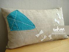 CUTE PILLOW...Sukan / Kite Raw Linen Pillow Cover  12x20 inch by sukanart, $50.00