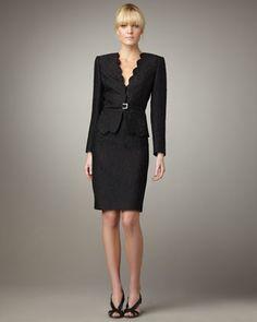 Albert Nipon Scalloped Animal Jacquard Suit - Neiman Marcus --> perfect skirt suit!