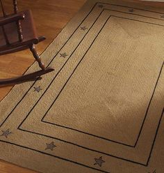 Country Primitive Burlap Star Beige Black Area Rug New India Home Fashions