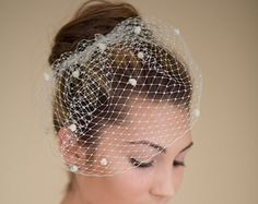 Ivory Birdcage Veil and Lace Bridal Fascinator by TheRedMagnolia