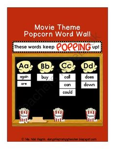 Movie Theme Popcorn Word Wall from Diary of a Grumpy Teacher Shop on TeachersNotebook.com -  (61 pages)  - Do you teach the Mc-Graw/Hill Wonders 1st Grade or Dolch Sight Words? Do you have a Hollywood/movie theme in your classroom? Decorate your movie-themed classroom with the Movie Theme Popcorn Word Wall!