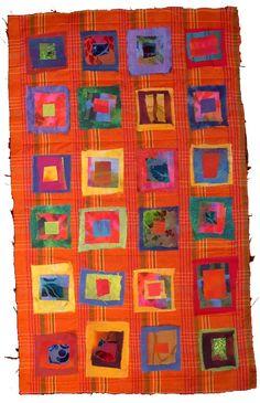colorful squares on orange background, quilt Orange Quilt, Quilt Modernen, Log Cabin Quilts, Colorful Quilts, Crochet Quilt, Textiles, Orange Background, Square Quilt, Fabric Art