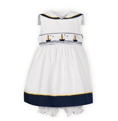 Newborn Nautical Dress w/Panty White pull-on panty. Set sail with these classic brother-sister coordinates in white and navy cotton/poly piqué. Hand-smocked and hand-embroidered bright yellow and navy sailboat design. Machine wash. Imported. Girls dresses have yellow ric-rac trimmed sailor style collars and hemlines. Button back closures. Tie back sashes.