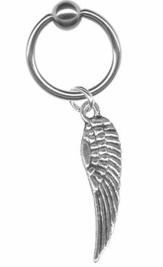 14 gauge Earring-14 gauge 5/16 inch Tiny Angel Wing Dangle Captive Ring-Cartilage Earring-Helix Jewelry BodySparkle Body Jewelry. $6.99. Unique, Tiny Pewter Angel Wing. 14 gauge 5/16 inch (8mm) inner diameter captive ring. Dangle is removable so ring can be worn alone