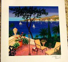 """LEDAN FANCH /""""TERRACE WITH SCULPTURES* SERIOLITHOGRAPH IN COLOR ON PAPER  W COA"""