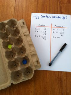 Egg Carton Shake Up Multiplication and addition alliteration, teacher stuff, multiplication facts, egg cartons, math activities, multiplication games, number sense, table games, kid