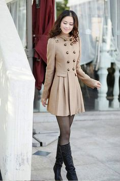 Wool Retro Slim Fit Long Jacket Coat Trench Outwear
