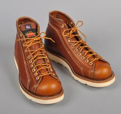 Thorogood roofing boots.   Three layers of leather thick on the sides.  They look durable.  But they also look like bowling shoes, so I'm not sure I'd buy these for myself.  Made in Wisconsin.