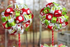 NEED THESE! So Cute Parties on Art Fire.  2 Christmas Grinch Themed Ribbon Topiary in Red and Lime Whimsy | socuteparties - Housewares on ArtFire
