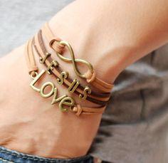 New Jesus & Love Leather Charm Bracelet (Great Gift! Alphabet Beads, Letter Beads, Cuff Bracelets, Infinity Bracelets, Jewelry Making, Style Inspiration, Lettering, Boutique, Gold