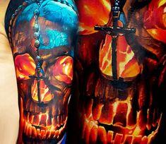 Skull tattoo by Vasilii Suvorov