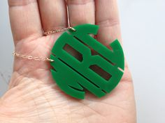 Moon & Lola Monogram Necklace in Green/Block/Gold #jewelry #gifts #mothersday in poppyscloset.com