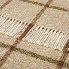 100% Pure Shetland Wool Bronte Sofa Throw Blanket Home & Garden Afghans & Throw Blankets Huntingtower Natural