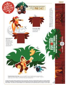 Donkey Kong Paper Craft Toy by Desktop Gremlins Donkey Kong Country Returns, Les Gremlins, Paper Toys, Paper Crafts, Desktop Photos, Wii, Tree Tops, Toy Craft, Paper Crafting