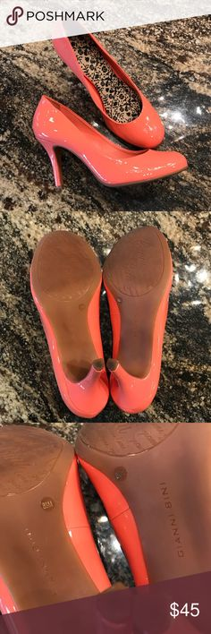 "Gianni Bini | Coral Patent Leather Heels These are absolutely spring appropriate! They are adorable Gianni Bini round toe patent leather heels. The heel on the left shoe has a scuff (pictures shown.)  Otherwise these are in NEAR PERFECT condition (and they match a few of the dresses in my closet .)   Heels: 3.5"" Width: 3.5"" Gianni Bini Shoes Heels"