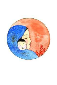 Mother and baby. Illustration. Art print by Toshisworld on Etsy
