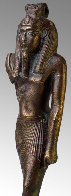 Bronze of King Sethi I as Nefertem, Dyn. 19,Egypt, New Kingdom, Dynasty 19, Dating: 1318 BC–1304 BC Origin: Egypt, Lower Egypt, Memphis Material: Bronze