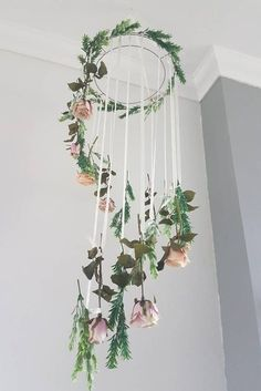 Such a simple (and easy to DIY) idea for a wedding flower garland! The hoops and hanging flowers would make an amazing floral installation. It's an easy way to fill up a room with high ceilings without having to splash out too much on decor or flowers. Flower Garlands, Flower Decorations, Hanging Decorations, Wedding Room Decorations, Flower Room Decor, Spring Decorations, Ribbon Flower, Flower Mobile, Pink Mobile