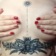 My last tattoo : underboob ✌☀️ bee, flowers and sun