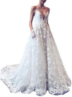 Pervobs White Wedding Dress for Women Sleeveless V-Neck Elegant Lace Swing Flowy Bridesmaid Dress Flowy Bridesmaid Dresses, White Wedding Dresses, V Neck, Elegant, Lace, Clothes, Women, Fashion, Classy