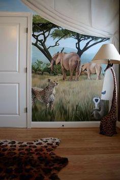 Safari Mural in Nursery by Dee Cunningham of Deelite Design llc