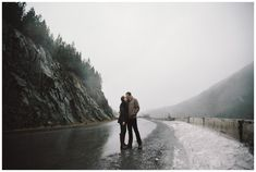 Mt. Hood engagement photos in the rain on the side of highway 26.