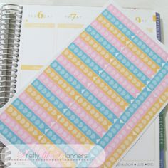 Hearts Checklist Flags-Teal-Pink-Yellow Set by PrettylilPlanners