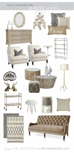 Tips on decorating with winter whites and neutrals from Just The Bees Knees for Remodelaholic.com #moodboard #white #decorating