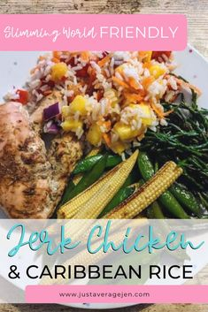 Jerk chicken and Caribbean rice Slimming World friendly recipe gold advic… Caribbean Rice, Caribbean Recipes, Caribbean Chicken, Jerk Chicken, Chicken Meals, Chicken Rice, Fiber Rich Fruits, Slimming World Diet, Healthy Body Weight