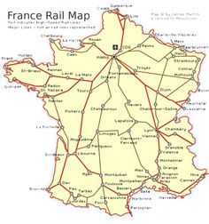 See a France Railways Map and Get French Train Travel Information See France by Train: An Easy Guide to French Railroads: France Rail Map Visit France, South Of France, European Vacation, European Travel, France Train, Europe Train, Calais France, France Map, Travel In France