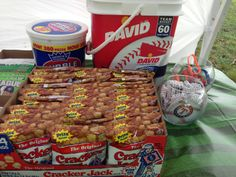 Birthday: Baseball snack ideas.  We also did Chicago style hot dogs.
